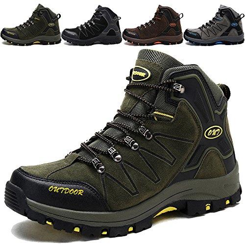 KAMIXIN Scarpe da Escursionismo Uomo Donna Stivali da Escursionismo Alti Scarpe da Arrampicata Scarpe da Trekking All'aperto Sneakers Calzature da Escursionismo Verde EU40