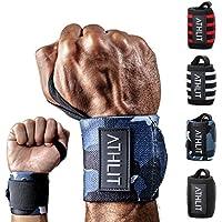 ATHLIT Handgelenk Bandagen (45cm) 2er Set + Gratis Tasche - Sport Handgelenkbandage [Wrist Wraps] für Crossfit, Kraftsport, Bodybuilding & Fitness - 2 Jahre Gewährleistung