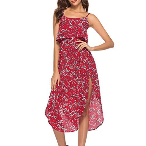(Produp Frauen Casual Dress Sling Riemchen Kordelzug Print Rüschen Holiday Ladies Summer Beach Long Dress)