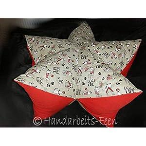beige/rot/schwarz Wohlfühl-Entspannungs-Sternenkissen für Hunde 50 cm