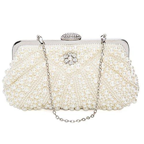Perlen Abendtasche-clutch (BAIGIO Damen Clutch Perlen Strass Abendtasche Vintage Handtasche für Hochzeit Party Bankett)