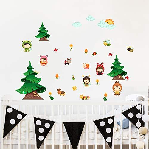 Stickers adhésifs Enfants | Sticker Autocollant la forest enchanté - Décoration murale chambre enfants | 30 x 60 cm