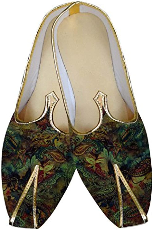 INMONARCH Hombres Green Boda Zapatos Paisley Patrón MJ015605