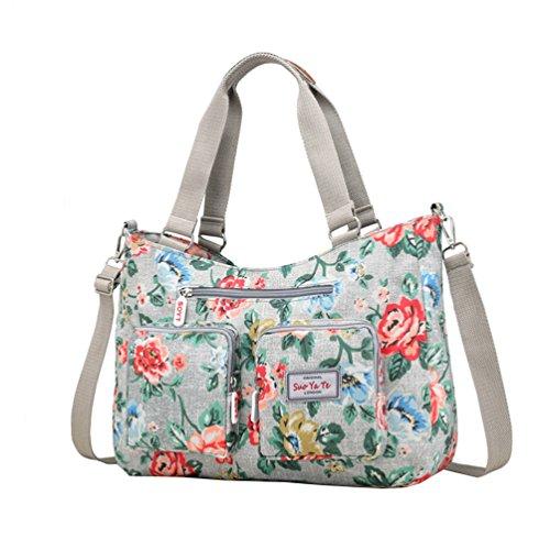 Vbiger Handtasche Damen Blumen Schultertasche Gross Handtasche Damen Wasserdichte Umhängetasche Nylon Schultertasche für Frauen