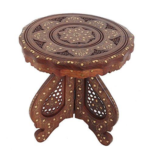 Casa moro tavolino da tè legno massello sheesham warda orientale indiano elegante stile accento mobili fatti a mano hms130