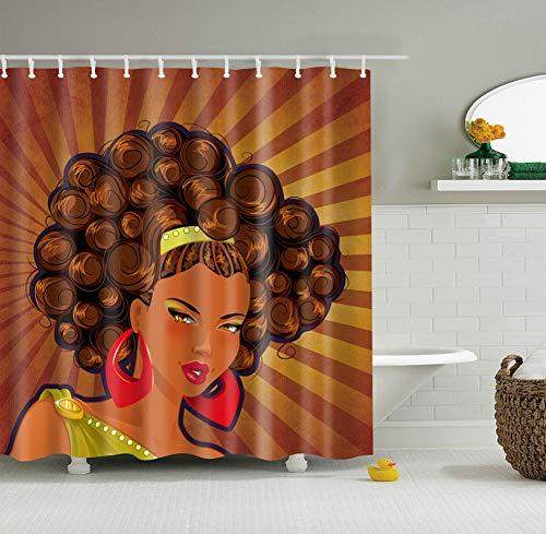 XHWL767 Gelber Brown-Diagonalstreifen-Muster-Hintergrund 1 Frauen-Brown-Haar-grüne Haarnadel-rote Ohrringe - Meer Duschvorhang-sets