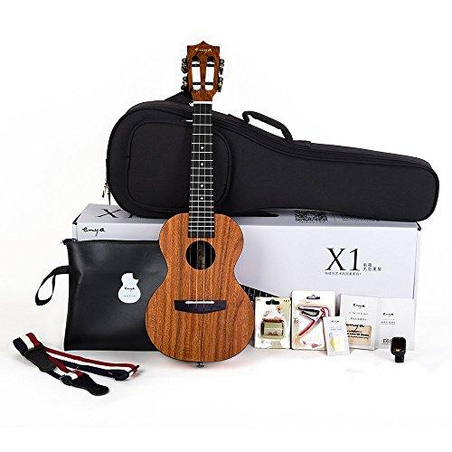 Enya Konzert Ukulele EUC-X1 HPL Mahagoni Korpus mit 23 Zoll Concert Ukelele Saiten,Tasche,Tuner,Gurt,Kapodaster,Broschüre