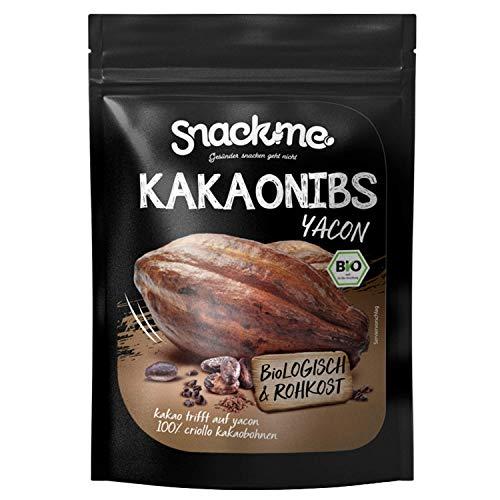 Bio Fairtrade Kakao-Nibs Cacao-Nibs Criollo mit Yacon Sirup ohne Zucker & Zusätze 1kg Peru 100% Rohkost-Qualität nicht bitter ungeröstet unbehandelt vegan raw organic