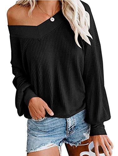 ZIYYOOHY Damen Pullover Sweatshirts V Ausschnitt Schulterfrei Bluse Oberteile Oversized Top (L, Schwarz)