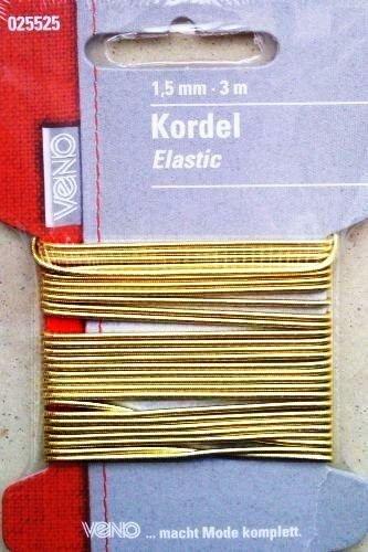 VENO 025525 Elastic-Kordel / Rundes Gummiband - Gummilitze in gold metallic Ø 1,5 mm x 3,0 m (VENO ... macht Mode komplett; Made in Germany) (Bleiben Mode-band)