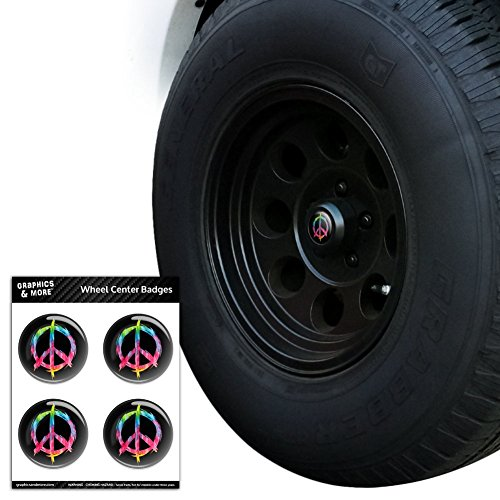 Graphics and More Tie Dye Peace Sign Tire Rad Center Gap resin-topped Abzeichen Aufkleber–7,1cm (7,1) Durchmesser