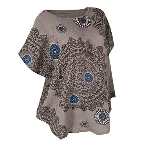 Damen Sommer Bluse Elegant Kurzarm Rundhals Loose Oberteile Casual Retro T-Shirt