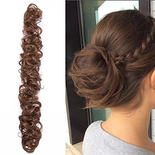 Chignon capelli finti ricci extension elastico lungo diy magic hair bun coda di cavallo accessori ponytail wrap con clip 85g - castano chiaro