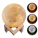 LáMpara Moon Touch De 3 Colores ImpresióN 3D Luz De Luna LED Con Soporte, USB LáMpara Recargable De AtenuacióN Nocturna Para DecoracióN Del Hogar Amante De Los Padres Regalo RomáNtico,White,18cm