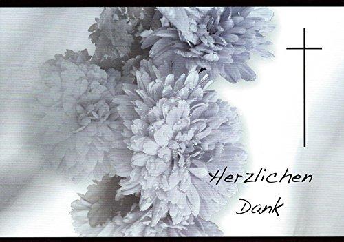 Danksagungskarten Trauerkarten mit Innentext und Umschlägen Motiv Chrysantheme (10 Karten) Trauerkarte Trauer Danke (K54)