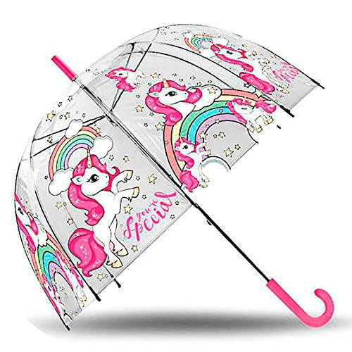 KIDS EUROSWAN S.L Unicornio Paraguas Transparente Campana Manual