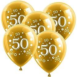 Globos para bodas de oro (diámetro de 30 cm, 10 unidades, látex), diseño con número 50, color dorado