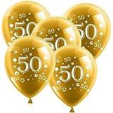 Bodas de Oro Número 10,Globos de látex con número 50,dorados, 30cm de Diámetro