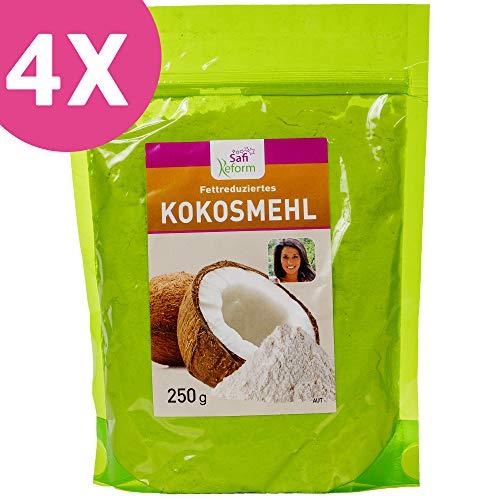 Glutenfreies fettfreies Kokosmehl im SPARPAKET 4 x 250g | Proteinreich + Ballaststoffreich | Paleo Vegan Superfood | zum Low Carb Backen + Sportnahrung | Premium Qualität von Szafi Free