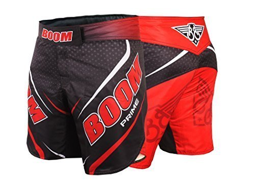 "BOOM Prime MMA Wettkampfhose ringen UFC Käfigkampf Muay Thai Kampfsport Kickboxen Shorts - Rot, S - 28""-30"" waist"