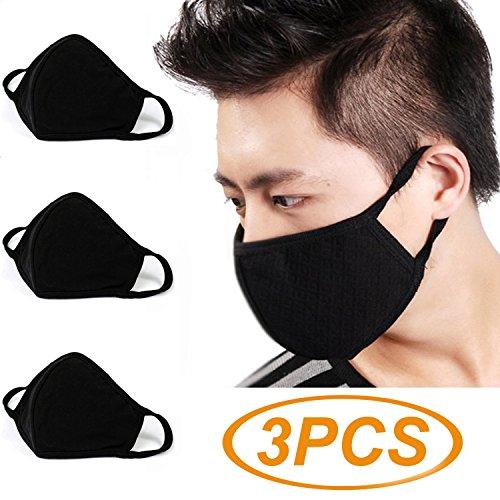 Witery Atemschutzmaske mit antibakterieller Aktivkohle, gegen Staub, Gesichts- und Mundmaske, wärmend, Antifog-Beschichtung, mit Ohrschlaufen, für Herren und Damen - Aktivkohle-filtration