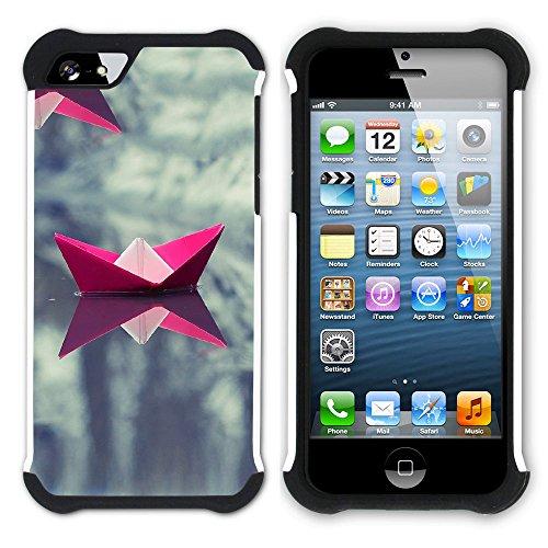 Graphic4You Origami Japanisch Kunst Hart + Weiche Kratzfeste Hülle Case Schale Tasche Schutzhülle für Apple iPhone SE / 5 / 5S Design #10