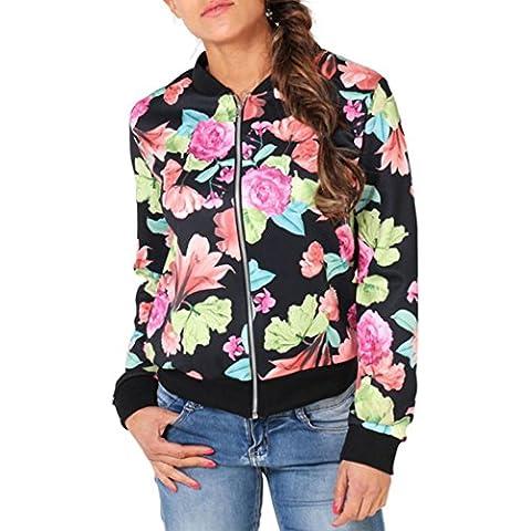 Landfox Floral de manga larga capa de la chaqueta informal