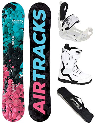 Airtracks Damen Snowboard Set - Board Polygonal 148 - Softbindung Master W - Softboots Savage W 41 - SB Bag