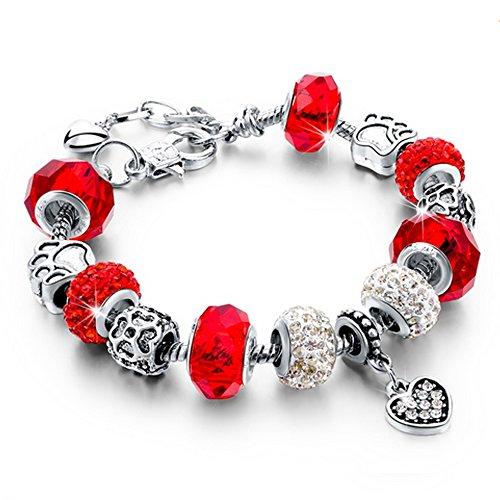 Bracciale donna e ragazza bead cuore con bead placcato argento con zirconi - componibile, misura regolabile, compatibile pandora - massima brillantezza, alta qualità (rosso)