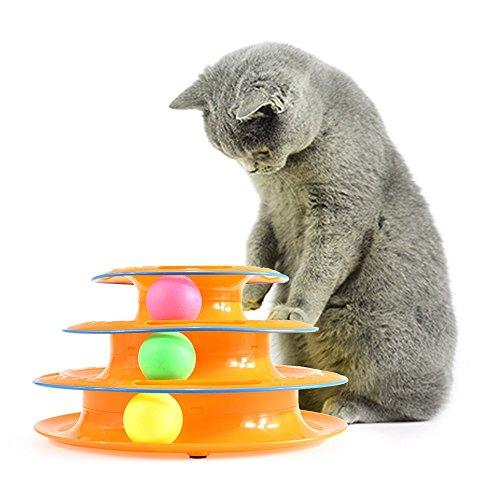 ZUOAO Giochi di Labirinto Gatto Giocattolo Torre di Tracce con le Palla ABS, Non Tossico e Sicurezza Circuito di Palla Antiscivolo per Animali Domestici, Smart Giochi per Gatto (Arancio)
