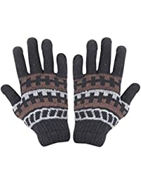 Krystle Woolen Thermal Winter Gloves Unisex Stretchy Thick Knitted Gloves for Men Women, Black