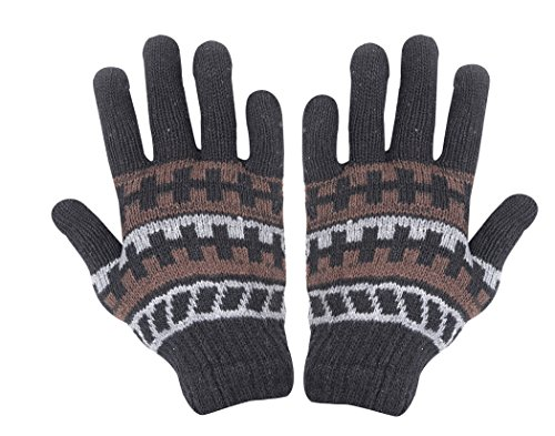 Krystle Women's Wool Thermal and Winter Gloves (KRY-PRINTD-WOM-GLOVES, Black, Free Size)