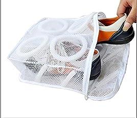 Nimble House (28X24.5X8Cm) Nylon Mesh Kids Shoes Washing Machine Wash Sports Dirty Shoes Washing Laundry Dry Bag Shoe Wash Transparent Pouch