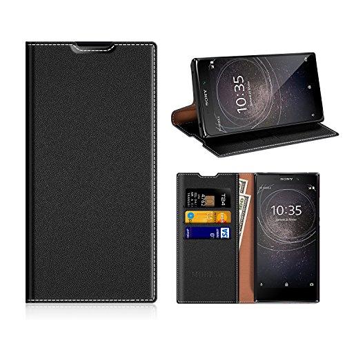 MOBESV Sony Xperia L2 Hülle Leder, Sony Xperia L2 Tasche Lederhülle/Wallet Case/Ledertasche Handyhülle/Schutzhülle mit Kartenfach für Sony Xperia L2 - Schwarz