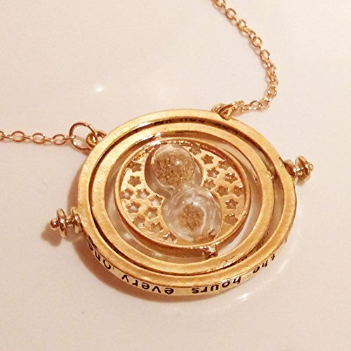 Image of Harry Potter: Hermione Gold Plated Time Turner Necklace with Hourglass