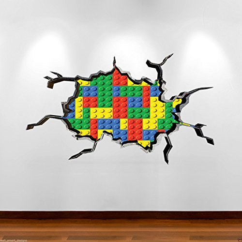 Wall Smart Designs Farbige Bricks 3D Full Farbe Art Wand Aufkleber Wandbild Aufkleber Jungen Schlafzimmer Graphic - Graphics Wall Brick