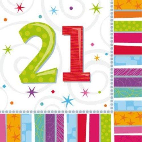 21.Geburtstag mit der Zahl 21 3lg.32,7x32,7cm ()