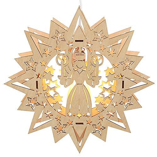 Dekohelden24 Exclusives, beleuchtetes Holz Fensterbild Stern, Motiv: Engel