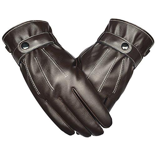 SRANDER Touchscreen Outdoor Leder Winter-warme Handschuhe für Herren Motorrad Gloves (YF107)