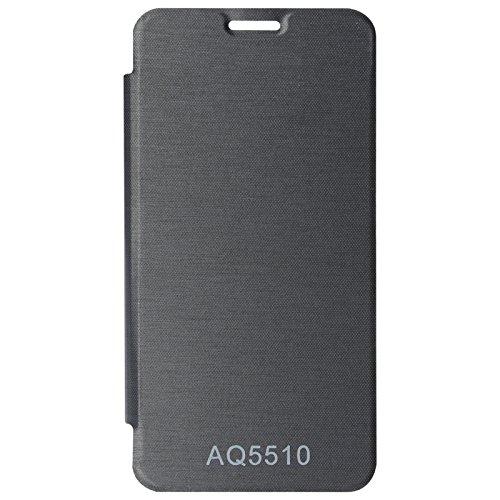 DMG Premium Flip Cover Case for Micromax Yureka Yu YUREKA AO5510 Mobile (Black) + Stylus Pen