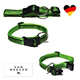 VAN WEEGEN Field & Sport | Hunde-Halsband | für große Hunde | Nylon | verstellbar (XL/25mm, Grün)