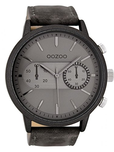 Oozoo Herren-Armbanduhr mit Lederband Grau C8455