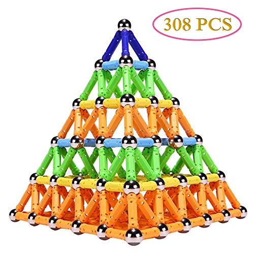Veatree 308 Stücke Puzzle Magnetische Bausteine Spielzeug Magnet BAU Bauen Kit Bildung Spielzeug für Kinder Spielen Stacking Spiel mit Magnetischen Ziegeln und Sticks