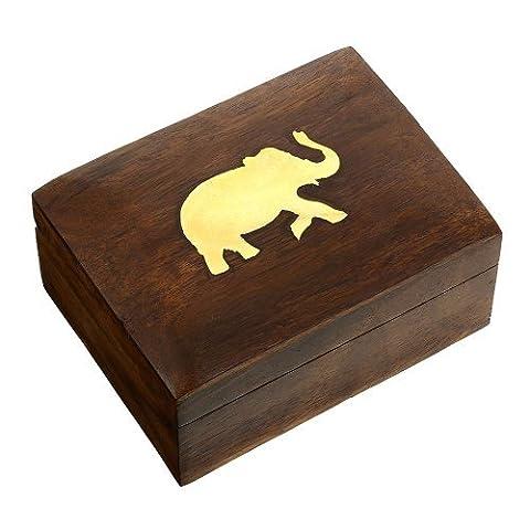 Indischer Elefanten Schmuckbehälter - Kleines Holzkästchen 10 x 7,6 x 5 cm - Schmuckkästchen für Halsketten