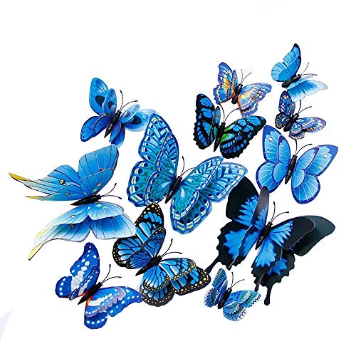 Price comparison product image Fellibay Wall Decal Butterfly Wall Stickers Fridge Magnet Decor Art Decorations DIY Wall Art Sticker Decal for Home Kitchen Bathroom Decoration Living Room Magnets and Glue Sticker Set (Blue)