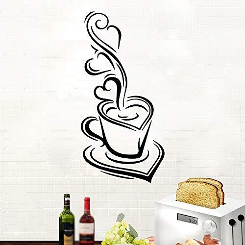 Amerikanischen Stil Köstliche Kaffee Kaffee Haus Dekor Vinyl Wandaufkleber Für Restaurant Diy Pvc Dekoration Zubehör gelb XL 58 cm X 28 cm (Mädchen Monster Amerikanische High)