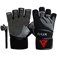 RDX Weight Lifting Gloves Leather Cowhide Gym Crossfit Workout Powerlifting Fitness Bodybuilding 50 Cm Long Wrist Breathable Strength Training Exercise