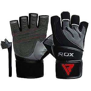 RDX Fitness Handschuhe Trainingshandschuhe Lang Handgelenkstütze Sporthandschuhe Rindsleder Gewichtheben workout Bodybuilding Gym Gloves krafttraining (MEHRWEG)