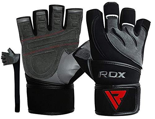 RDX Fitness Handschuhe Crossfit Trainingshandschuhe Lang Handgelenkstütze Sporthandschuhe Rindsleder Gewichtheben workout Bodybuilding Gym Gloves krafttraining (MEHRWEG) (Rindsleder Wildleder-handschuhe)