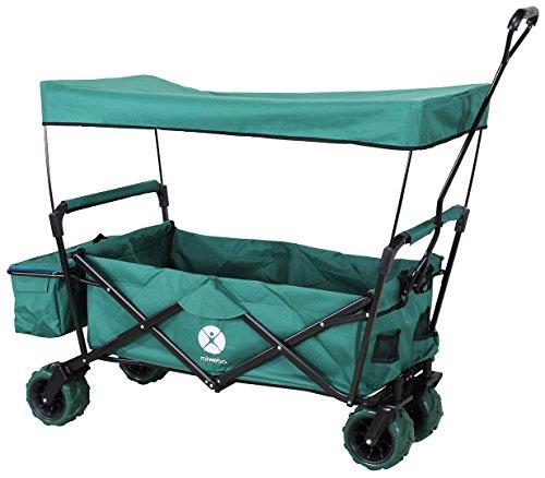 Miweba Faltbarer Bollerwagen MB-10 für Kinder - Bremse - Dach - PU-Breitreifen - Transporttasche - Klappbar - UV-Beständig - Handwagen faltbar (Grün)